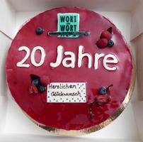 Jubiläumstorte 20 Jahre Lektorat und Übersetzungsbüro Wort für Wort in Köln